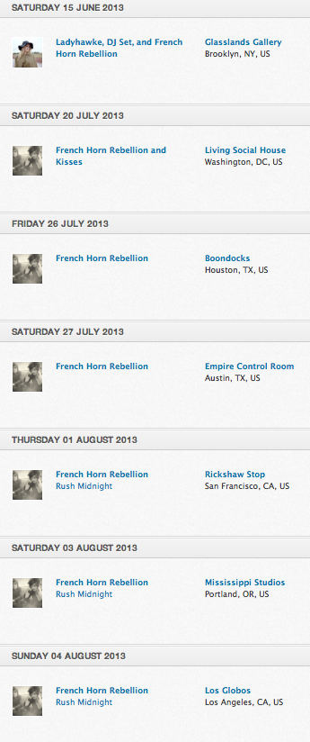 French Horn Rebellion tour
